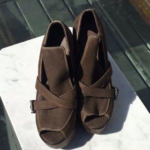 Joie platform chunky heels in chocolate brown